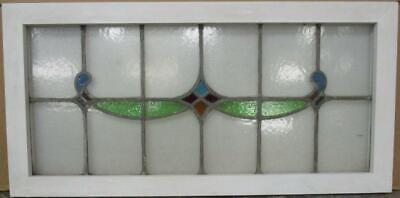 "OLD ENGLISH LEADED STAINED GLASS WINDOW TRANSOM Pretty Geometric Sweep 34"" x 17"""