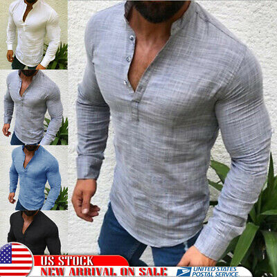 Fashion Men's Slim Fit V-Neck Long Sleeve Muscle Tee T-shirt Casual Tops Blouse