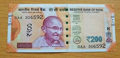 INDIA 200 Rupees 2017 P113 Without Letter Prefix 0AA UNC Banknote