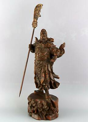 Collect Qainlong Years Antique Boxwood Carved General Guan Yu Exorcism Statue