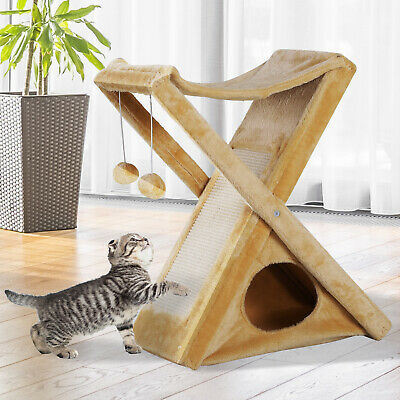 Foldable Cat Tower Kitty Activity Tree Center Scratcher Cave Hammock