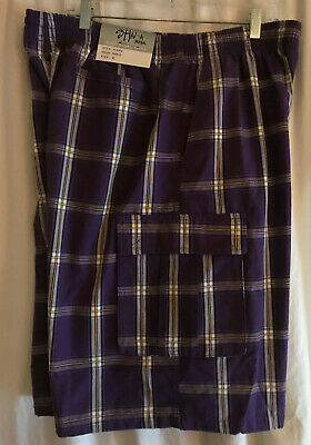 New Shaka Wear Men's Checkered Relaxed Fit Plaid Cargo Shorts Purple XL