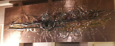 HUGE 70s mid-century Brutalist ART hammered Copper Wall Hanging vintage retro