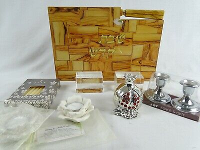 Vintage Jewish Lot inc Knife Chopping Board Candles Holders Pomegranate Crystal