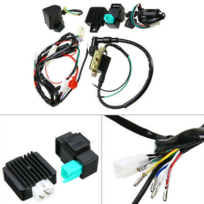 Wiring Harness Ignition Black Accessories Kit Motorcycle Coil Rectifier