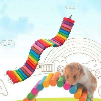 Colorful Wooden Pet Ladder Bridge Stair Gerbil Hamster Parrot Rat Rodent To F2W0