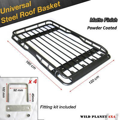 Universal Steel Roof Rack 1.6m One piece Powder Coated Basket Luggage Carrier Ca