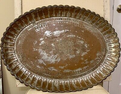"Antique Persian Large Hand Hammered Copper Wall Hanging Tray 29 1/2"" X 21 1/2"""