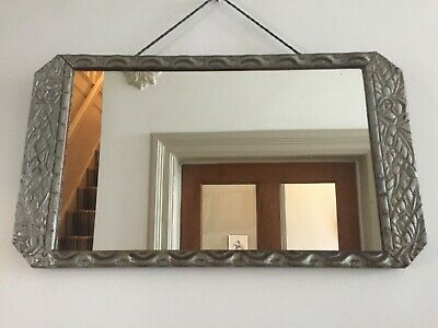 French Original Art Deco 1930s Vintage Mirror Distressed Silver 47x27cm m265