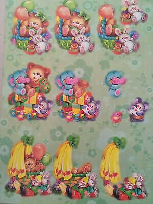 3D Die Cut Decoupage Push Out Bears and Balloons