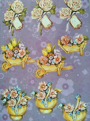 3D Die Cut Decoupage Push Out Flower Arrangements
