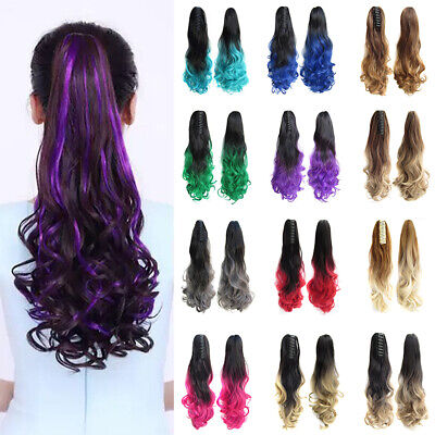 Clip in Claw on Ponytail Thick Extensions Long Curly Wavy Synthetic Hair Piece