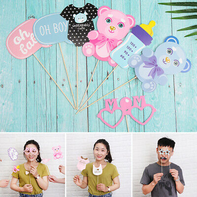 27pc Baby Shower Photo Booth Props Unisex Selfie Oh Baby Blue Pink Party Games