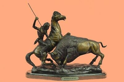 """""""Buffalo Hunt"""" Collectible Solid Bronze Sculpture Statue By Russell Figure Sale"""