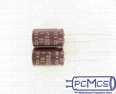 10 Pcs Nippon ChemiCon NCC KZH Series 16V 2200UF Ultra Low impedance Capacitor