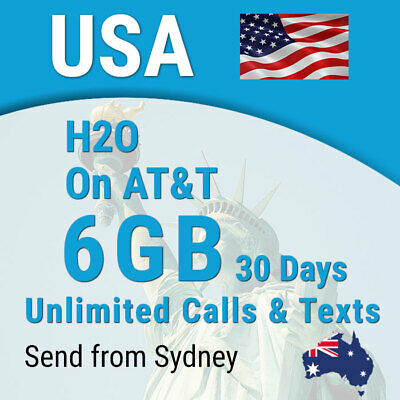 USA H2O Sim card, 6GB, Unlimited calls + texts, USA (incl Hawaii)