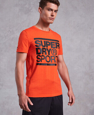 New Mens Superdry Core Graphic T-Shirt Bold Orange Twist