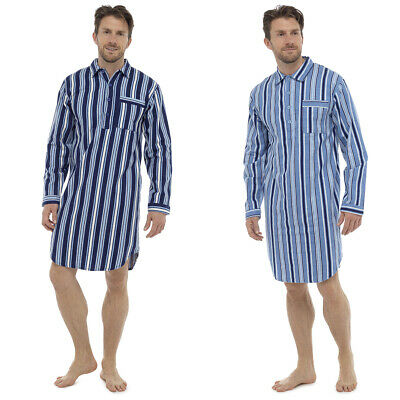 Mens Traditional Stripe Nightshirt Blue Navy Adults Sleepwear Nightwear Pyjamas