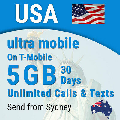 USA Ultra Sim card, 5GB, Unlimited calls + texts, USA (incl Hawaii)