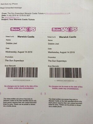 Warwick Castle  tickets x 2 for Wednesday 14th August