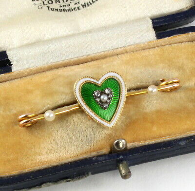 Antique Victorian 9Ct Gold And Enamel, Diamond,Pearl Heart Brooch In Box
