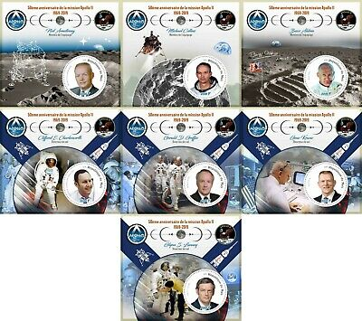 Apollo 11 50Th Anniversary Space Nasa Moon Neil Armstrong Mnh Stamp Set 7 Sheets
