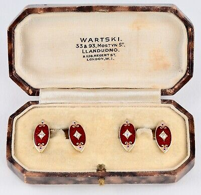 Antique 18Ct Gold & Diamond , Red Guilloche Enamel Cufflinks In Wartski Case