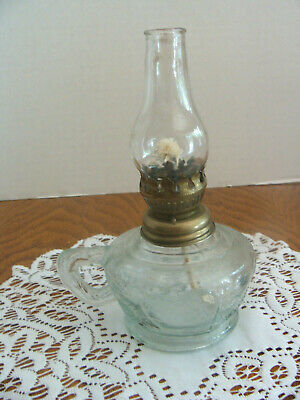 Vintage Miniature Oil Lamp Embossed with Fruit Clear Glass With Finger Holder