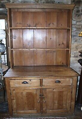Antique Victorian pine kitchen DRESSER 2 drawers cupboards and rack Extra deep!