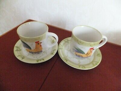 Scotts of Stow Stoneware Cockerel Pattern       Cups and Saucers x 4