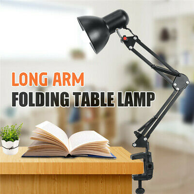 Long Arm Desk Lamp Adjustable Swing Folding Clip-on Table Light WorkReading Lamp