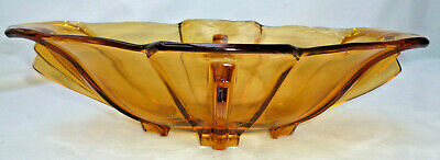 VINTAGE ART DECO LARGE OVAL AMBER GLASS BOWL - 29cm long - very good condition