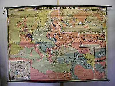 Schulwandkarte WW1 Guerre Mondiale Empire vs World Kaiser Wilhelm 241x181cm