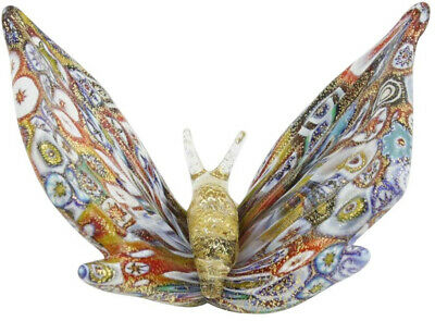 Murano Glass Butterfly Sculpture Figurine Colorful Millefiori, Handmade in Italy