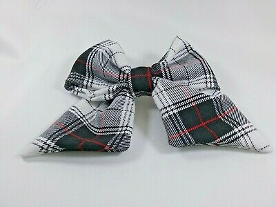 Black Tartan fabric Sailor Hair Bow alligator clip / bobble 2 sizes 4 or 5""
