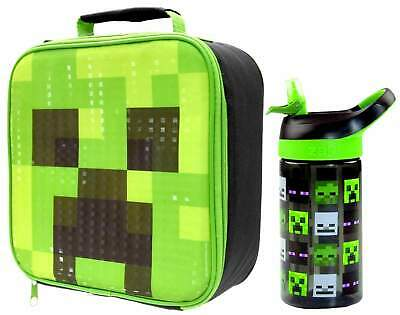 Minecraft Creeper Lunch Bag and Flip 'n' Flow Bottle 470ml  | Minecraft Lunchbox