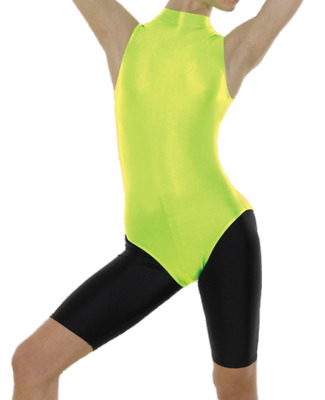 Tappers & Pointers Long Sleeved Leotard Turtleneck Florescent Green Size 2 Age 9