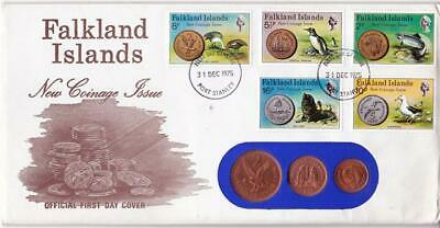 1975 Falkland Islands New Coinage Issue FDC - Port Stanley FDI