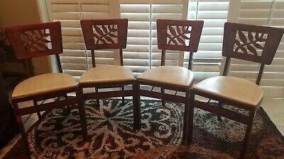 4 Vintage Stakmore Folding Chairs Wood w/ Cushioned Seat Mid Century or Earlier