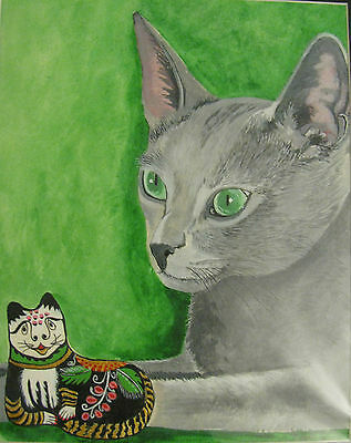 """C76     Original Acrylic Painting By Ljh     """"Russian Blue With Ceramic""""    Cat"""