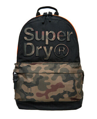 New Mens Superdry Double Camo Montana Rucksack Black