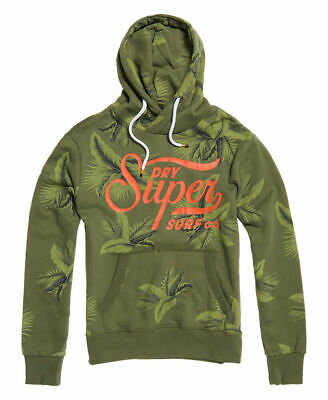 New Mens Superdry Super Surf Crossover All Over Print Hoodie Washed Cedarwood