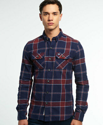 New Mens Superdry Refined Lumberjack Shirt Navy Tundra Grindle