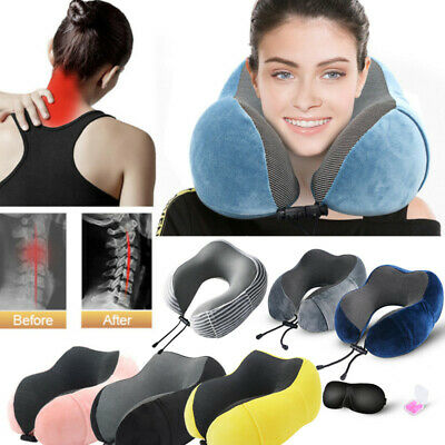 U -Shaped Memory Foam Rebound Travel Pillow Neck Support Head Rest with Bag UK