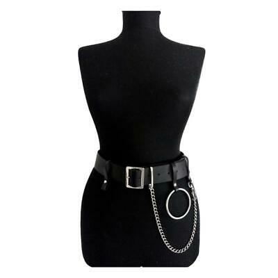 2019 Women Gothic Punk Waist Belt Chain Metal Circle Ring Design Silver Pin Buck