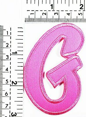 Pink Letter G Patch Embroidered Patch Sew On/Iron On Patch Alphabet Logo Patches
