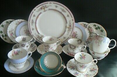 Vintage Mismatched China 6 Cups 6 Saucers 6 Side Plates Jug Sugar Bowl