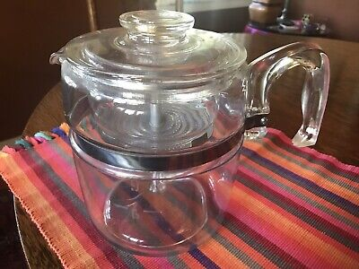 Vintage Pyrex Flameware 9 Cup Stove Top Coffee Pot Percolator 7759 Complete