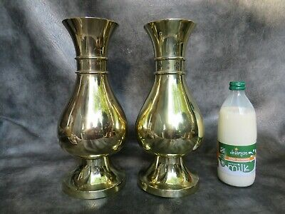 Two Large Heavy Brass Victorian Altar Vases By Thomas Pratt & Sons London