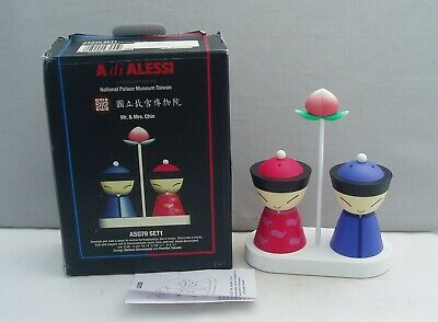 Alessi Italy Mr & Mrs Chin Salt & Pepper Pots Set On Stand Red & Blue Mib